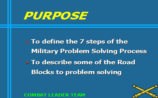 army solving process How to use the chbolc smartbook 8  the operations process 4 adp 6-22, army leadership 5  the military problem solving process.
