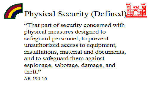 army physical security Physical security division the fort knox physical security division's mission is to assist the installation commander and director of emergency services in all aspects of physical security.